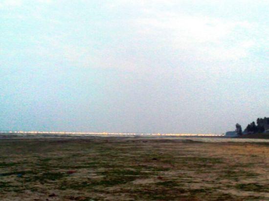 दूर दिखती संगम क्षेत्र की लाइटें!