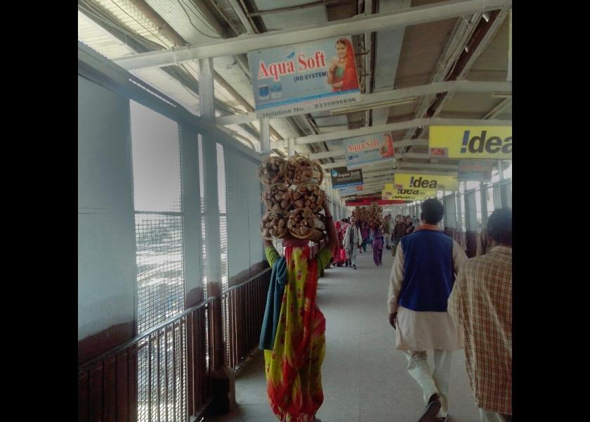 सिर पर लकड़ी का गठ्ठर ले कर जाती इलाहाबाद स्टेशन के फुट ओवर ब्रिज पर महिला।