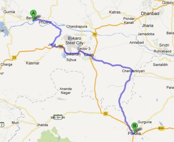 जारीडीह से पुरुलिया का रास्ता - 95 किलोमीटर