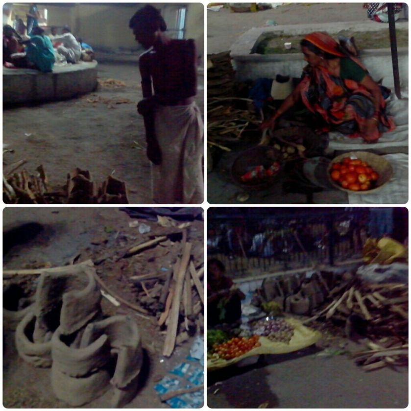 चूल्हे, लकड़ी और सब्जी बेचने की जमीन पर लगी दुकानें। विन्ध्याचल स्टेशन के बाहर।