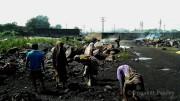 रास्ता कोयलामय था। कहीं लोग कोयला इकठ्ठा कर जला रहे थे - हार्ड कोक बनाने के लिये।