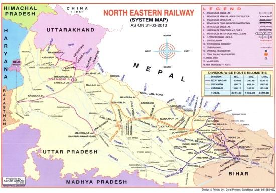 पूर्वोत्तर रेलवे का नक्शा