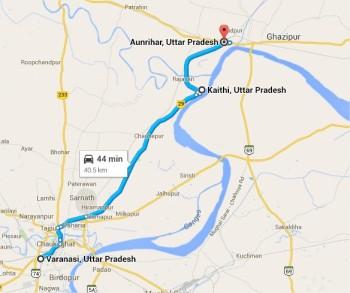 गोमती संगम के बाद औंड़िहार के पार गंगा पूर्व की ओर नब्बे अंश का मोड़ लेती हैं।