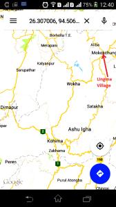 उंग्मा गांव। दीमापुर, कोहिमा और मोकोकशुंग गूगल मैप में।